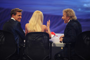 (L-R) Jury members Dieter Bohlen, Michelle Hunziker and Thomas Gottschalk at the 'Das Supertalent' Semi Finals on December 08, 2012 in Cologne, Germany.