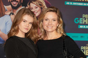 "Carola Ferstl (R) and daughter Lilly Ferstl attend the premiere of ""Das perfekte Geheimnis"" on October 28, 2019 in Berlin, Germany."