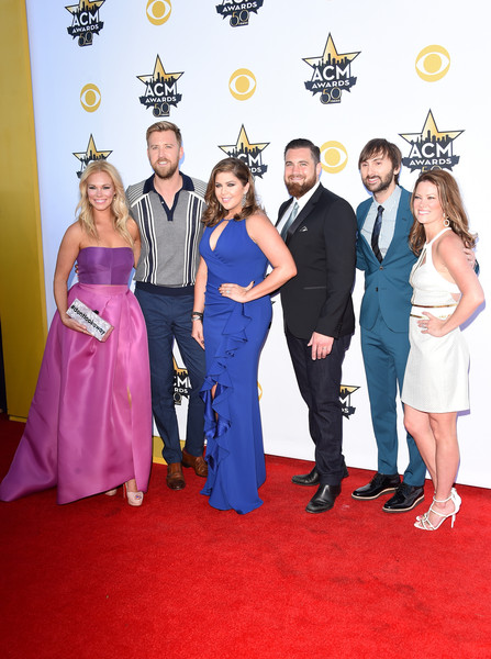 50th Academy Of Country Music Awards - Arrivals [red carpet,carpet,event,flooring,fashion,dress,formal wear,premiere,prom,award,arrivals,chris tyrrell,dave haywood,musicians,cassie mcconnell,charles kelley,hillary scott,l-r,academy of country music awards,lady antebellum]