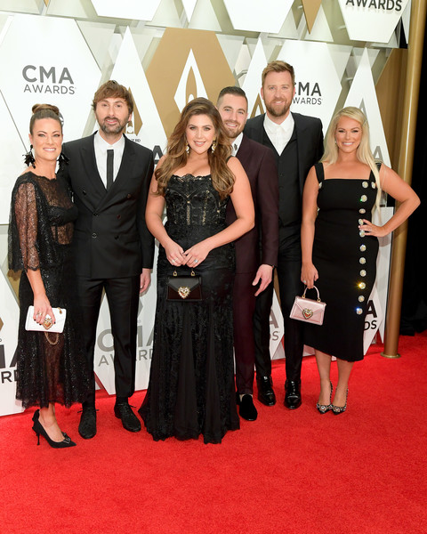 The 53rd Annual CMA Awards - Arrivals [red carpet,carpet,event,flooring,premiere,dress,fashion,little black dress,formal wear,arrivals,charles kelley,hillary scott,chris tyrrell,dave haywood,kelli cashiola,cma awards,l-r,music city center,lady antebellum]
