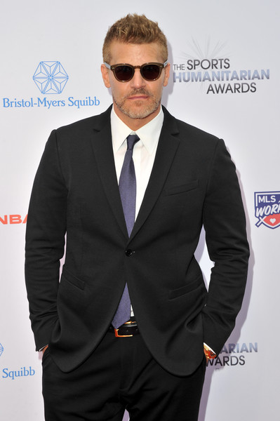 5th Annual Sports Humanitarian Awards Presented By ESPN [suit,clothing,eyewear,formal wear,white-collar worker,outerwear,tie,tuxedo,blazer,carpet,david boreanaz,the novo theater,california,los angeles,l.a. live,espn,annual sports humanitarian awards]