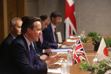 David Cameron UK PM Cameron Meets With Japan PM Abe Prior To G7 Summit