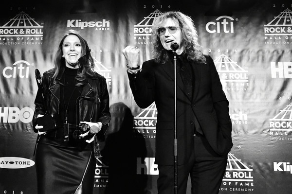 31st Annual Rock and Roll Hall of Fame Induction Ceremony - Press Room [rock and roll hall of fame induction ceremony - press room,black-and-white,monochrome,event,photography,performance,style,david coverdale,press room,barclays center,new york city,rock and roll hall of fame induction ceremony]