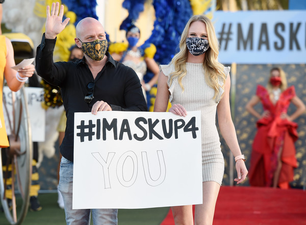 Las Vegas Entertainers Kick Off Pro-Mask Wearing Campaign With Fashion Show Amid Spike In COVID-19 Cases [fan,event,protest,fashion,public event,competition event,crowd,aerialists,acrobats,steve sisolak,covid,cases,spike,kick off pro-mask,las vegas,entertainers,campaign with fashion show,socialite,fan]