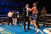 Tony Bellew (R) celebrates victory over David Haye with promotor Eddie Hearn during the Heavyweight contest between Tony Bellew and David Haye at The O2 Arena on May 5, 2018 in London, England.  at The O2 Arena on May 05, 2018 in London, England.