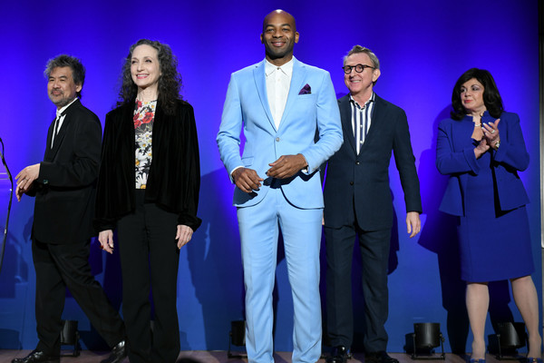 Bebe Neuwirth And Brandon Victor Dixon Host The 73rd Annual Tony Awards Nominations Announcement [event,performance,award ceremony,award,suit,formal wear,performing arts,employment,bebe neuwirth,brandon victor dixon host,david henry hwang,thomas schumacher,charlotte st. martin,l-r,broadway league,american theatre wing,announcement,annual tony awards]
