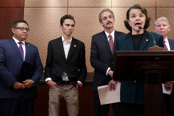 Lawmakers Discuss Brady Campaign To Prevent Gun Violence's Plan For Increased Gun Safety Laws [dianne feinstein,lawmakers,david hogg,mike feuer,salud carbajal,cyrus vance jr.,participants,plan,gun safety laws,event,businessperson,official,white-collar worker,suit,management,employment,job,business,brady campaign to prevent gun violence]