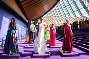 Jessica Gomes,  Dilone and Victoria Lee showcase designs with models during the David Jones SS19 Season Preview at the Sydney Opera House on August 08, 2019 in Sydney, Australia.