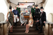Royal Ascot Greencoats, models, jockey Johnny Murtagh (2nd L), fashion designer  Amanda Wakeley (2nd R) and milliner Jane Taylor (L) pose with a collage by David Mach entitled The Great British Drama, depicting a scene at Royal Ascot, at the Royal Academy of Arts on February 11, 2014 in London, England. The artwork, which was commissioned to celebrate Royal Ascot 2014, is made up of more than 200 images from the historic race meeting, bringing to life many of its remarkable stories. Royal Academist David Machs collage features images of several Royal Ascot winning horses and thousands of racegoers celebrating alongside Michelin Starred chefs, Greencoats, TV presenters and trainers.