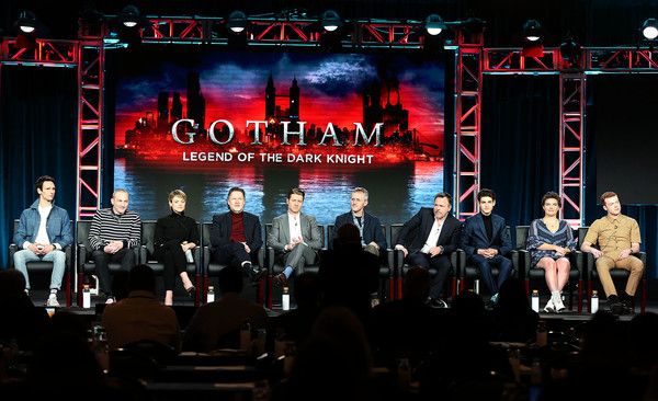2019 Winter TCA Tour - Day 9 [television show,stage,performance,entertainment,music,event,display device,musical theatre,stage equipment,concert,heater,michael smith,robin lloyd taylor,erin richards,danny cannon,david mazouz,camren bicondova,l-r,pasadena,winter tca]