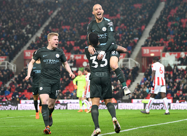Stoke City vs. Manchester City - Premier League [player,sports,sports equipment,team sport,ball game,sport venue,football player,product,stadium,soccer,david silva,kevin de bruyne,gabriel jesus,goal,bet365 stadium,stoke on trent,manchester city,stoke city,premier league,match]