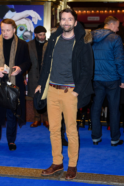 'Mary Poppins' At Prince Edward Theatre - Photocall [mary poppins,premiere,event,yellow,carpet,jeans,fashion,outerwear,flooring,denim,facial hair,david tennant,performance,photocall,prince edward theatre,england,london]
