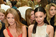 Millie Mackintosh (L) andLeah Weller attend the Julien Macdonald show during London Fashion Week Spring Summer 2015 at Somerset House on September 13, 2014 in London, England.