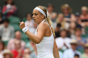 Sabine Lisicki of Germany celebrates against Christina McHale of USA in her Women's Singles Second Round match during day four of the Wimbledon Lawn Tennis Championships at the All England Lawn Tennis and Croquet Club on July 2, 2015 in London, England.