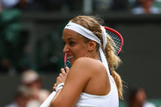 Sabine Lisicki of Germany  reacts during her Women's Singles Second Round match against against Anastasia Pavlyuchenkova of Russia during day four of the Wimbledon Lawn Tennis Championships at the All England Lawn Tennis and Croquet Club on July 2, 2015 in London, England.
