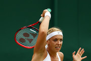 Sabine Lisicki of Germany serves during the Ladies Singles second round match agaist Samantha Stosur of Australia on day four of the Wimbledon Lawn Tennis Championships at the All England Lawn Tennis and Croquet Club on June 30, 2016 in London, England.