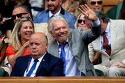 Entrepreneur Richard Branson and his daughter Holly react as they attend the Royal Box during Day Ten of The Championships - Wimbledon 2019 at All England Lawn Tennis and Croquet Club on July 11, 2019 in London, England.