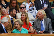 Entrepreneur Richard Branson and former football player David Beckham attend the Royal Box during Day Ten of The Championships - Wimbledon 2019 at All England Lawn Tennis and Croquet Club on July 11, 2019 in London, England.