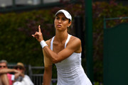 Vitalia Diatchenko of Russia reacts in her Ladies' Singles first round match against Kristina Mladenovic of France during Day two of The Championships - Wimbledon 2019 at All England Lawn Tennis and Croquet Club on July 02, 2019 in London, England.