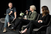 Michael O'Connell, Liz Feldman and Linda Cardellini speak onstage during the Dead To Me SAG NOM COMM at Netflix Home Theater on November 10, 2019 in Los Angeles, California.