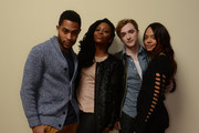 (L-R) Actors Brandon P Bell, Teyonah Parris, Kyle Gallner, and Tessa Thompson pose for a portrait during the 2014 Sundance Film Festival at the Getty Images Portrait Studio at the Village At The Lift on January 20, 2014 in Park City, Utah.