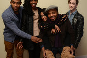 (L-R) Actors Brandon P Bell, Teyonah Parris and Tessa Thompson, filmmaker Justin Simien, and actor Kyle Gallner pose for a portrait during the 2014 Sundance Film Festival at the Getty Images Portrait Studio at the Village At The Lift on January 20, 2014 in Park City, Utah.