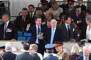 David Cameron and John Major attend the dedication service of The Iraq and Afghanistan memorial at Horse Guards Parade on March 9, 2017 in London, England.