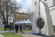 """Britain's Queen Elizabeth II and Britain's Prince Philip, Duke of Edinburgh attend the unveiling of The Iraq and Afghanistan memorial at Victoria Embankment Gardens in central London on March 9, 2017..The preceding """"Service of Dedication"""" honoured the service and duty of both the UK Armed Forces and civilians in the Gulf region, Iraq and Afghanistan, and those who supported them back home, from 1990-2015 / AFP PHOTO / POOL / Toby Melville"""