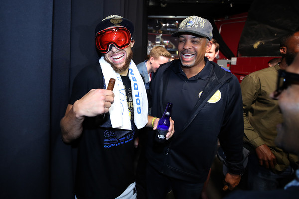 2018 NBA Finals - Game Four [personal protective equipment,helmet,event,fun,performance,costume,dell curry,stephen curry,user,locker room,nba,golden state warriors,cleveland cavaliers,finals,game four,nba finals]