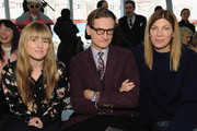 (L-R) Amy Astley, Hamish Bowles and Virginia Smith pose for a picture during the Delpozo runway show at IAC Building during Mercedes-Benz Fashion Week on February 18, 2015 in New York City.