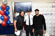 Johnny Damon, Bernie Williams, and Delta, the official airline of the New York Yankees, celebrate the 2019 Yankees at LaGuardia Airport on October 18, 2019 in New York City.