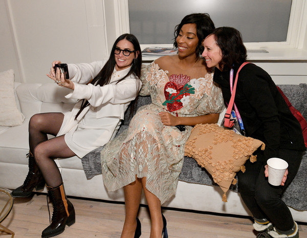 DIRECTV Lodge Presented By AT&T Hosts 'Corporate Animals' Party At Sundance Film Festival 2019 [fashion,lady,skin,leg,dress,fun,footwear,event,fashion design,sitting,jessica williams,demi moore,animals,c,directv lodge,utah,at t,sundance film festival,party,party]