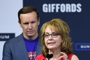 Former U.S. Rep. Gabrielle Giffords speaks as U.S. Sen. Chris Murphy (D-CT) looks on during the 2020 Gun Safety Forum hosted by gun control activist groups Giffords and March for Our Lives at Enclave on October 2, 2019 in Las Vegas, Nevada. Nine Democratic presidential candidates for president are taking part in the forum to address gun violence one day after the second anniversary of the massacre at the Route 91 Harvest country music festival in Las Vegas when a gunman killed 58 people in the deadliest mass shooting in recent U.S. history.