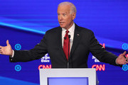 Former Vice President Joe Biden speaks during the Democratic Presidential Debate at Otterbein University on October 15, 2019 in Westerville, Ohio. A record 12 presidential hopefuls are participating in the debate hosted by CNN and The New York Times.