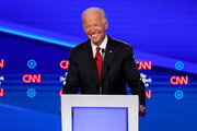 Former Vice President Joe Biden smiles during the Democratic Presidential Debate at Otterbein University on October 15, 2019 in Westerville, Ohio. A record 12 presidential hopefuls are participating in the debate hosted by CNN and The New York Times.