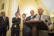 Sen. Ben Cardin (D-MD) speaks during a news conference on President Donald Trump's Clean Energy Plan replacement on Capitol Hill  on August 21, 2018 in Washington, DC. Also pictured are Sen. Sheldon Whitehouse (D-RI), Sen. Martin Heinrich (D-NM), Sen. Michael Bennet (D-CO), and Sen. Ed Markey (D-MA). Trump's plan would give states more authority over coal-fired plants and roll back regulations put in place by President Obama.