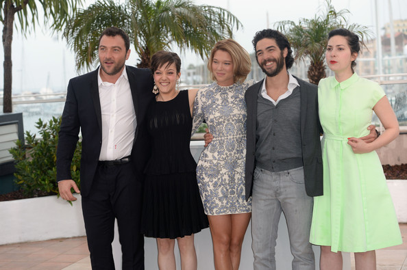 'Grand Central' Photo Call in Cannes [photocall - the 66th annual cannes film festival,people,social group,event,fashion,dress,suit,white-collar worker,formal wear,smile,family,denis menochet,tahar rahim,camille lellouche,rebecca zlotowski,lea seydoux,l-r,grand central,palais des festivals,cannes film festival]