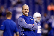 Head coach Chuck Pagano of the Indianapolis Colts looks on prior to the game against the Denver Broncos at Lucas Oil Stadium on December 14, 2017 in Indianapolis, Indiana.