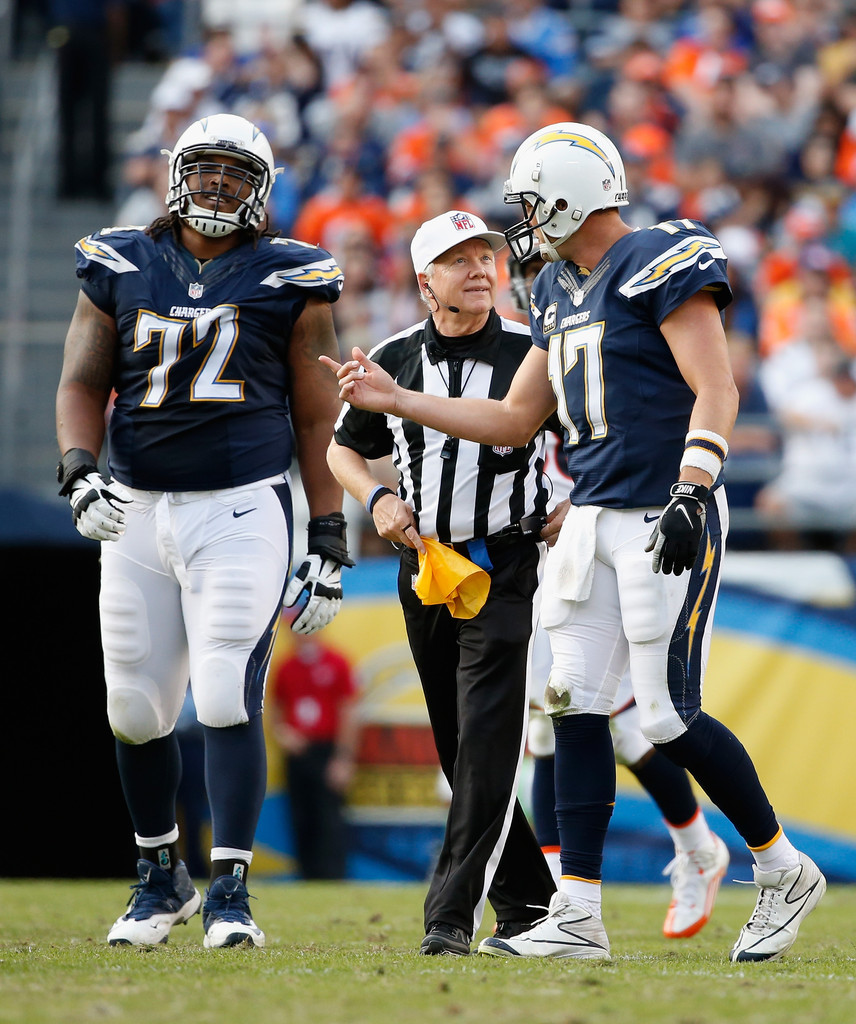 San Diego Chargers Denver Broncos: Walt Coleman And Joe Barksdale Photos Photos