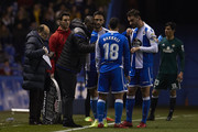 Clarence Seedorf the manager of Deportivo de La Coruna gives his team instructions during the La Liga match between Deportivo La Coruna and Real Betis at Abanca Riazor Stadium on February 12, 2018 in La Coruna, Spain.