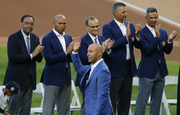 Derek Jeter Ceremony [charles,derek jeter,joe torre,crowd,teammates,mariano rivera,jorge posada,andy pettitte,event,team,competition event,championship,coach,recreation,gesture,competition,team sport,white-collar worker,derek jeter ceremony,new york yankees]