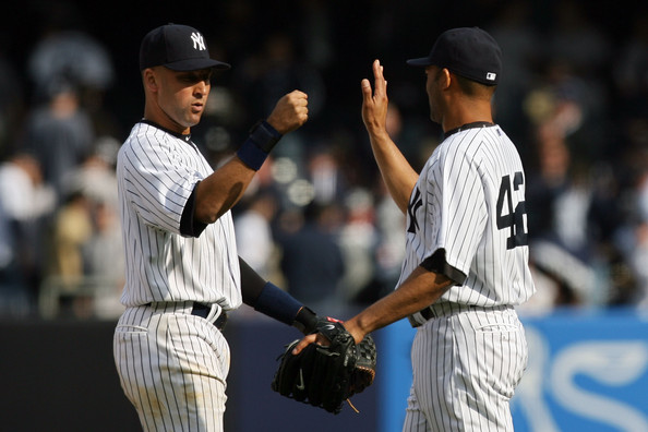 Derek Jeter and Mariano Rivera - Los Angeles Angels of Anaheim v New York Yankees