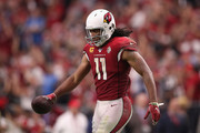 Wide receiver Larry Fitzgerald #11 of the Arizona Cardinals during the NFL game against the Detroit Lions at State Farm Stadium on September 08, 2019 in Glendale, Arizona. The Lions and Cardinals tied 27-27.