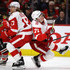 David Booth Photos - Dylan Larkin #71 of the Detroit Red Wings collides with teammate David Booth #17 during a game against the Chicago Blackhawks at the United Center on January 14, 2018 in Chicago, Illinois. The Red Wings defeated the Blackhawks 4-0. - Detroit Red WIngs v Chicago Blackhawks