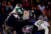 Sergei Bobrovsky #72 of the Columbus Blue Jackets takes a drink of water during a stoppage in play in the game against the Detroit Red Wings on March 9, 2018 at Nationwide Arena in Columbus, Ohio. Columbus defeated Detroit 3-2.