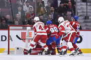 Tomas Tatar #90 of the Montreal Canadiens scores in the first period against the Detroit Red Wings during the NHL game at the Bell Centre on October 15, 2018 in Montreal, Quebec, Canada.