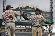 Jeimer Candelario #46 of the Detroit Tigers celebrates with Miguel Cabrera #24 after hitting a home run in the sixth inning against the Pittsburgh Pirates during game one of a doubleheader at PNC Park on April 25, 2018 in Pittsburgh, Pennsylvania.