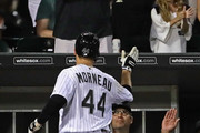 Manager Robin Ventura #23 of the Chicago White Sox greets Justin Morneau #44 after Morneau hit a three run home run in the 5th inning against the Detroit Tigers at U.S. Cellular Field on July 22, 2016 in Chicago, Illinois.