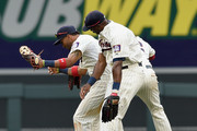 (L-R) Eddie Rosario #20, Torii Hunter #48 and Aaron Hicks #32 of the Minnesota Twins celebrate a win of the game against the Detroit Tigers on July 11, 2015 at Target Field in Minneapolis, Minnesota. The Twins defeated the Tigers 9-5.