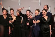 Paula Beer, Desiree Nosbusch and other cast members pose with their awards for Best Drama (Bad Banks) during the German Television Award (Der Deutsche Fernsehpreis 2019) at Rheinterrasse on January 31, 2019 in Duesseldorf, Germany.